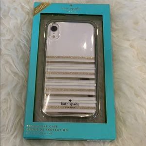 Kate Spade iPhone XR clear gold stripe Case